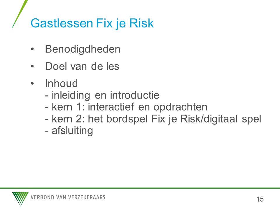 Gastlessen Fix je Risk •Benodigdheden •Doel van de les •Inhoud - inleiding en introductie - kern 1: interactief en opdrachten - kern 2: het bordspel F