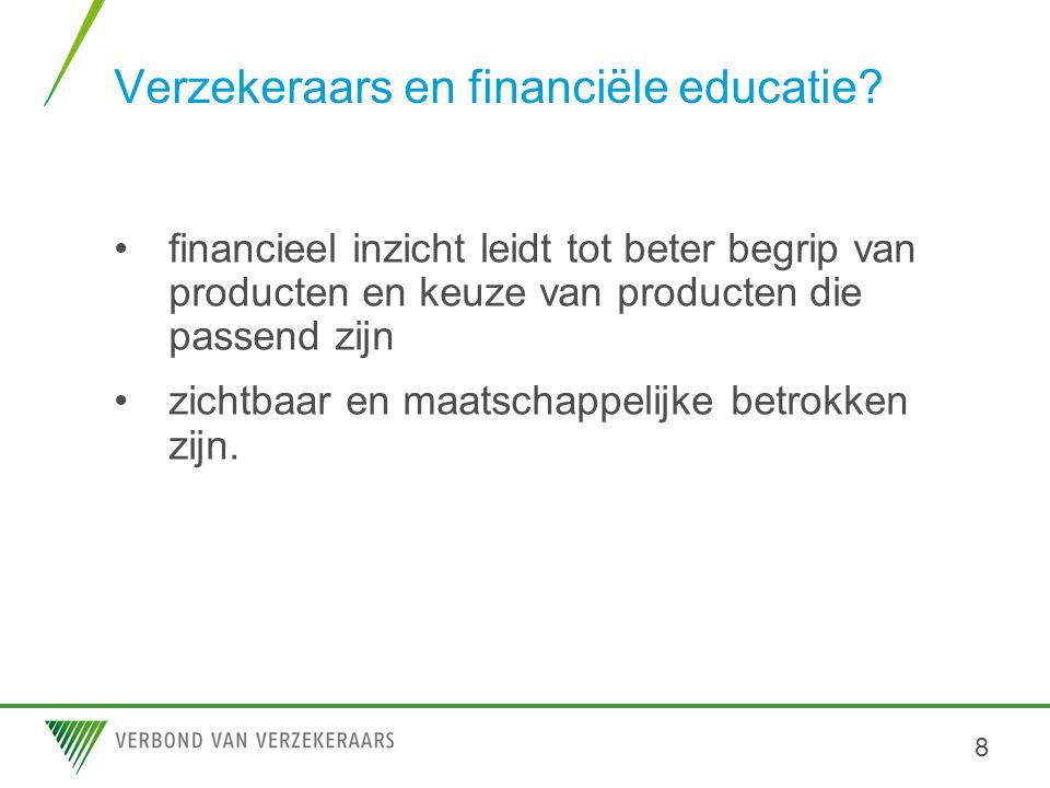 Verzekeraars en financiële educatie? •financieel inzicht leidt tot beter begrip van producten en keuze van producten die passend zijn •zichtbaar en ma