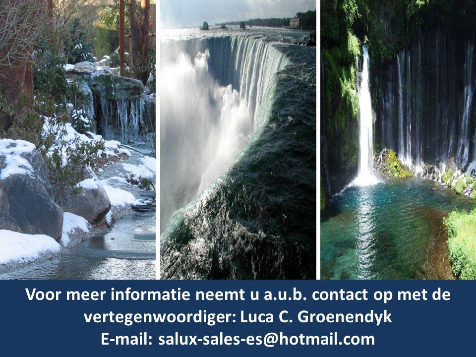 Voor meer informatie neemt u a.u.b. contact op met de vertegenwoordiger: Luca C. Groenendyk E-mail: salux-sales-es@hotmail.com