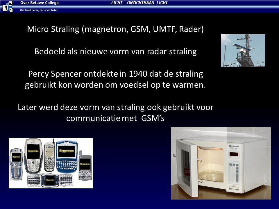 Micro Straling (magnetron, GSM, UMTF, Rader) Bedoeld als nieuwe vorm van radar straling Percy Spencer ontdekte in 1940 dat de straling gebruikt kon worden om voedsel op te warmen.