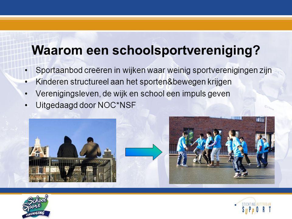 Waarom een schoolsportvereniging? •Sportaanbod creëren in wijken waar weinig sportverenigingen zijn •Kinderen structureel aan het sporten&bewegen krij