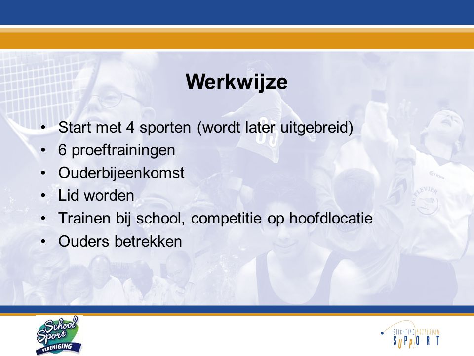 Organisatie •Stuurgroep schoolsportvereniging •Projectleider en -medewerker SSV (Rotterdam Sportsupport) •Coördinator per SSV •Scholen •Verenigingen
