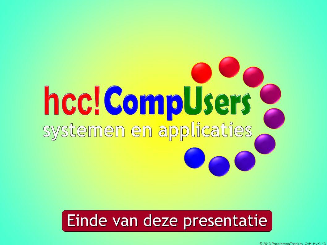 © 2013 ProgrammaTheek bv, CvH, HvK - 13 Einde van deze presentatie