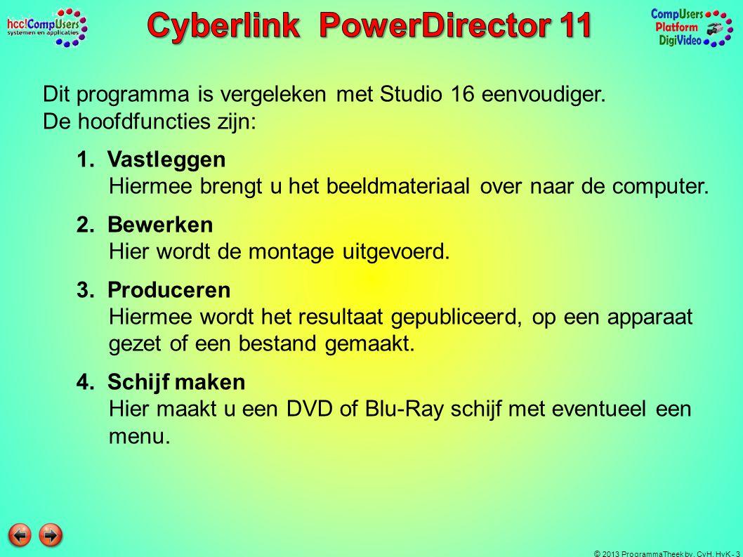 © 2013 ProgrammaTheek bv, CvH, HvK - 3 Dit programma is vergeleken met Studio 16 eenvoudiger. De hoofdfuncties zijn: 1. Vastleggen Hiermee brengt u he