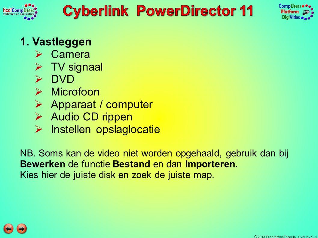 © 2013 ProgrammaTheek bv, CvH, HvK - 4 1. Vastleggen CCamera TTV signaal DDVD MMicrofoon AApparaat / computer AAudio CD rippen IInstelle