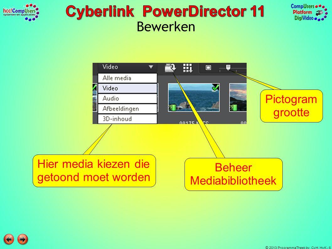 © 2013 ProgrammaTheek bv, CvH, HvK - 6 Bewerken Hier media kiezen die getoond moet worden Beheer Mediabibliotheek Pictogram grootte