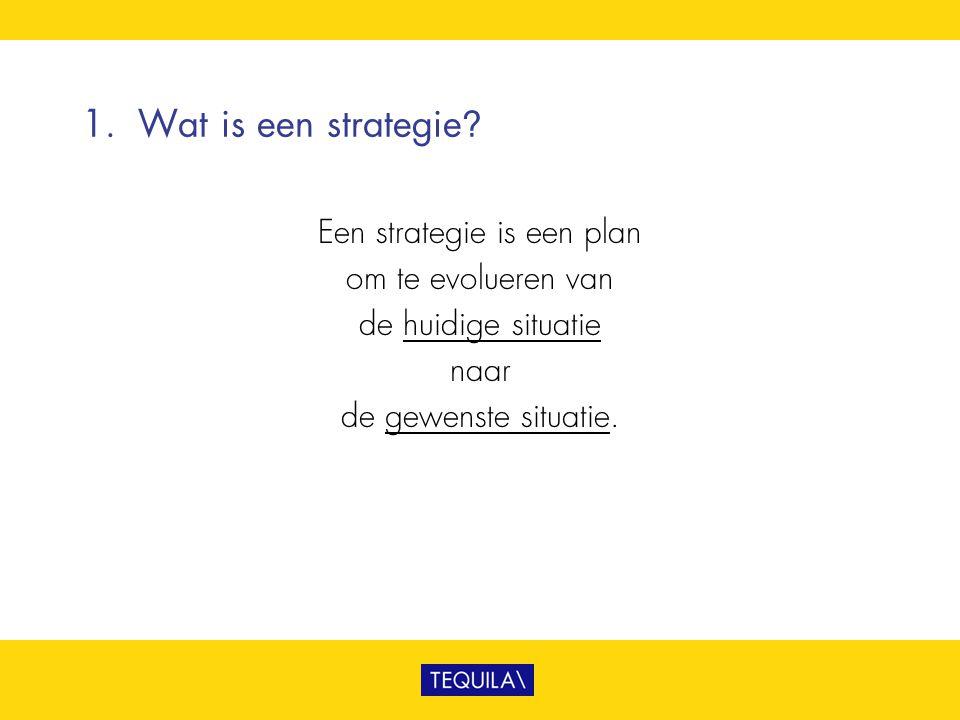 1. Wat is een strategie? Een strategie is een plan om te evolueren van de huidige situatie naar de gewenste situatie.