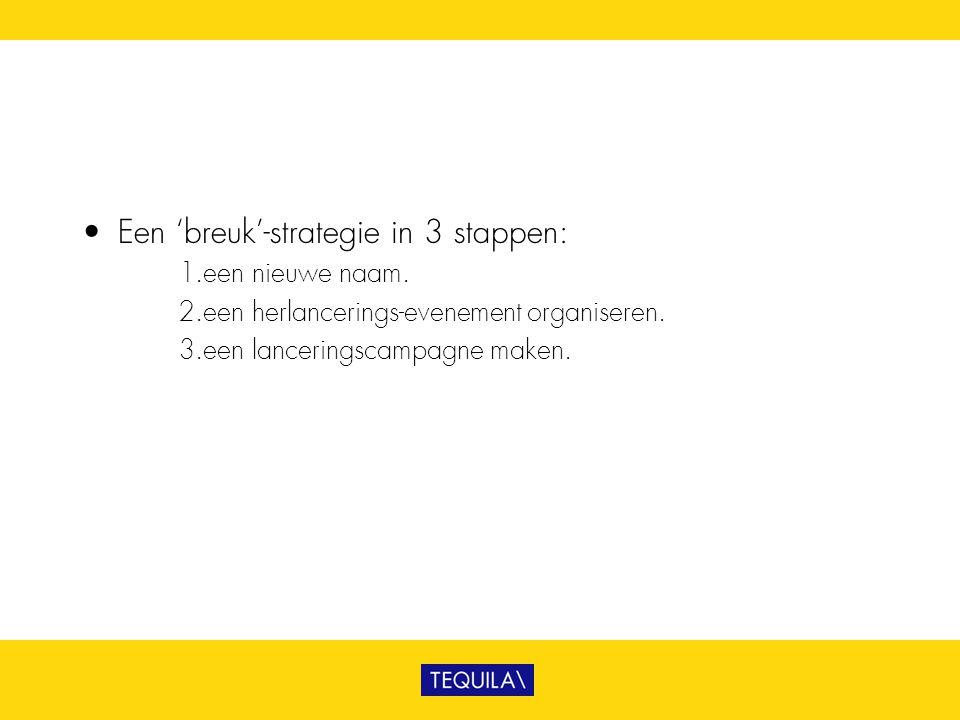 • Een 'breuk'-strategie in 3 stappen: 1. een nieuwe naam. 2. een herlancerings-evenement organiseren. 3. een lanceringscampagne maken.