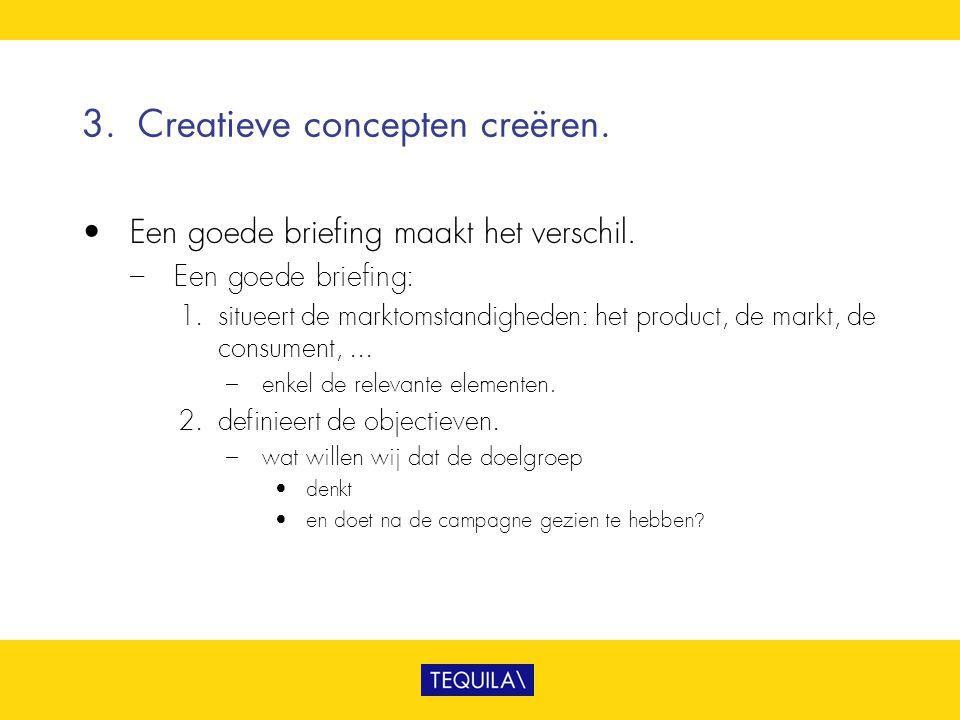 3.Creatieve concepten creëren. • Een goede briefing maakt het verschil. – Een goede briefing: 1. situeert de marktomstandigheden: het product, de mark