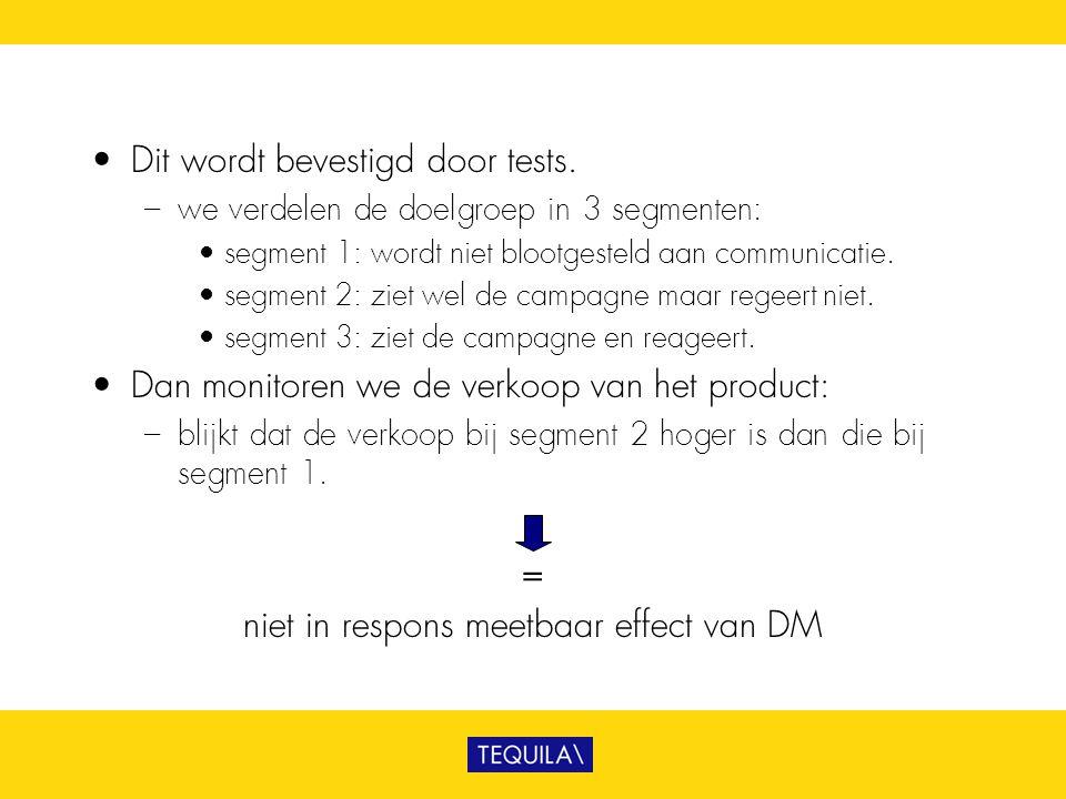 • Dit wordt bevestigd door tests. – we verdelen de doelgroep in 3 segmenten: • segment 1: wordt niet blootgesteld aan communicatie. • segment 2: ziet