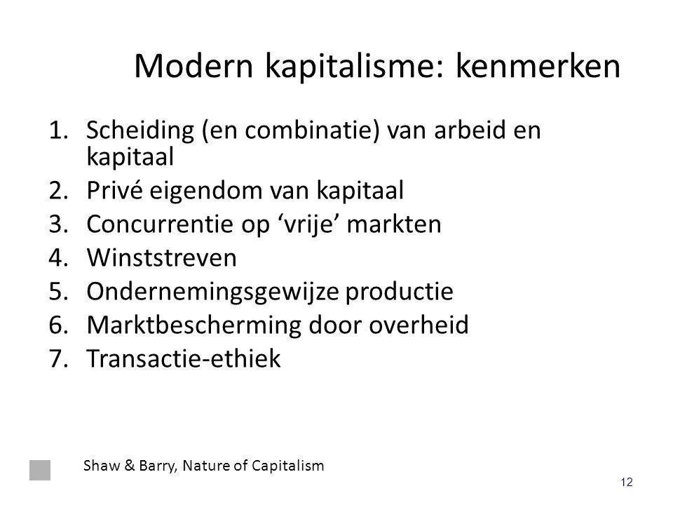 Modern kapitalisme: kenmerken 1.Scheiding (en combinatie) van arbeid en kapitaal 2.Privé eigendom van kapitaal 3.Concurrentie op 'vrije' markten 4.Win
