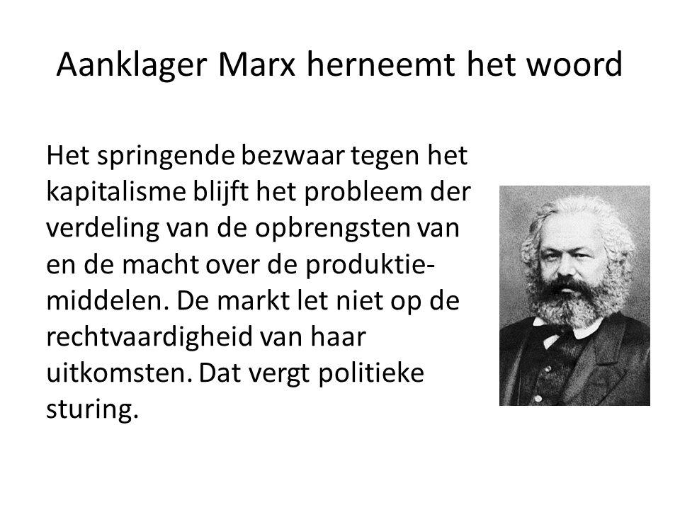 Aanklager Marx herneemt het woord Het springende bezwaar tegen het kapitalisme blijft het probleem der verdeling van de opbrengsten van en de macht ov