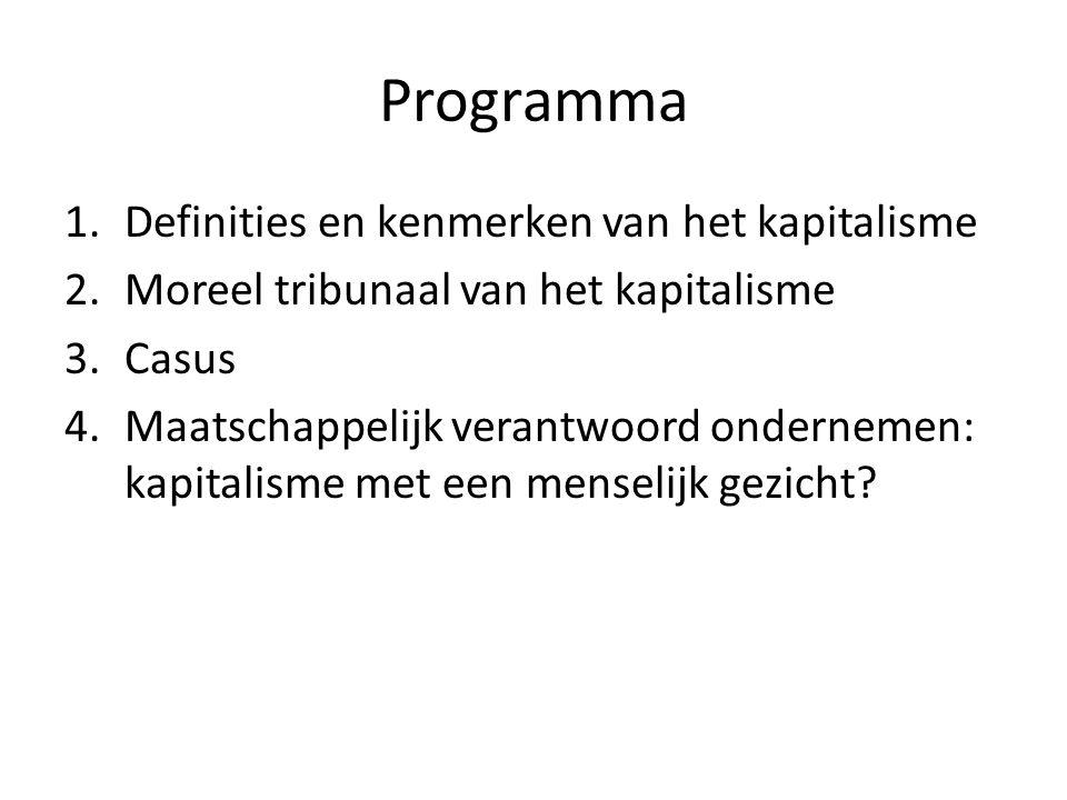 Programma 1.Definities en kenmerken van het kapitalisme 2.Moreel tribunaal van het kapitalisme 3.Casus 4.Maatschappelijk verantwoord ondernemen: kapit