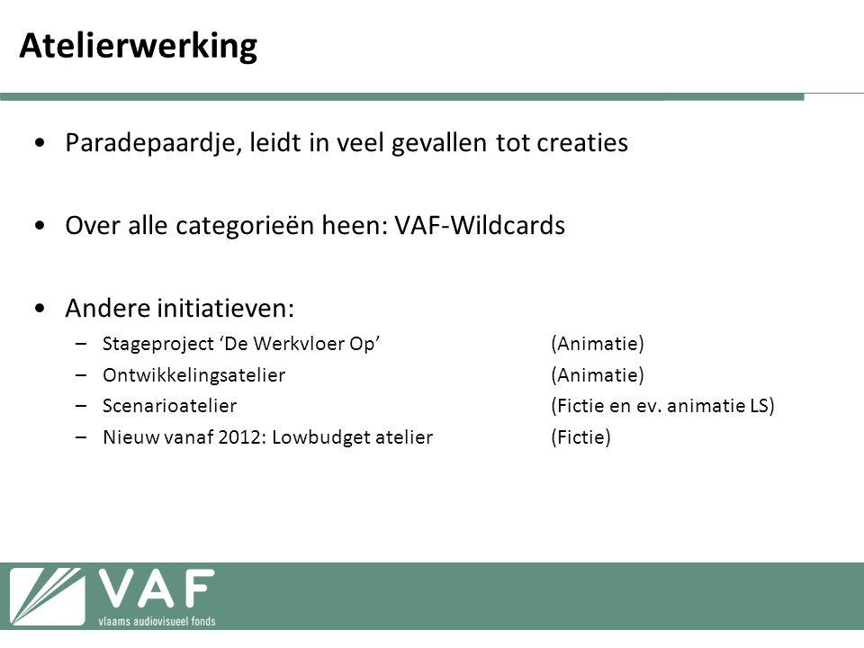 Atelierwerking •Paradepaardje, leidt in veel gevallen tot creaties •Over alle categorieën heen: VAF-Wildcards •Andere initiatieven: –Stageproject 'De Werkvloer Op'(Animatie) –Ontwikkelingsatelier(Animatie) –Scenarioatelier(Fictie en ev.