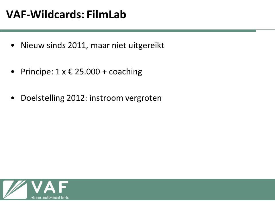 VAF-Wildcards: FilmLab •Nieuw sinds 2011, maar niet uitgereikt •Principe: 1 x € 25.000 + coaching •Doelstelling 2012: instroom vergroten