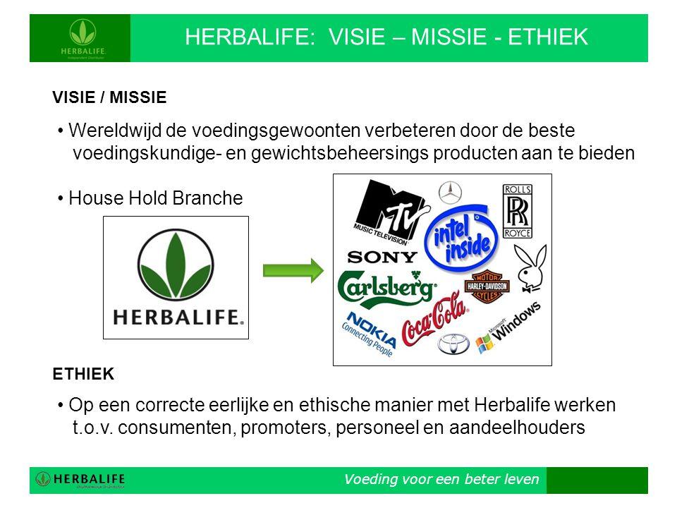 Voeding voor een beter leven HERBALIFE: VISIE – MISSIE - ETHIEK VISIE / MISSIE • Wereldwijd de voedingsgewoonten verbeteren door de beste voedingskund
