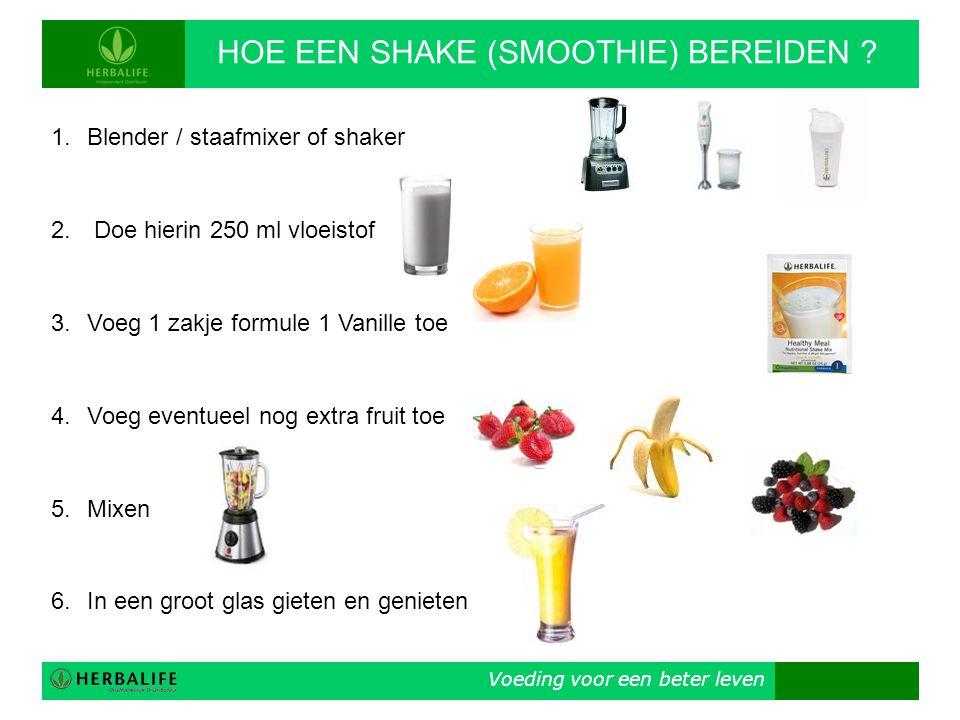 1.Blender / staafmixer of shaker 2. Doe hierin 250 ml vloeistof 3.Voeg 1 zakje formule 1 Vanille toe 4.Voeg eventueel nog extra fruit toe 5.Mixen 6.In