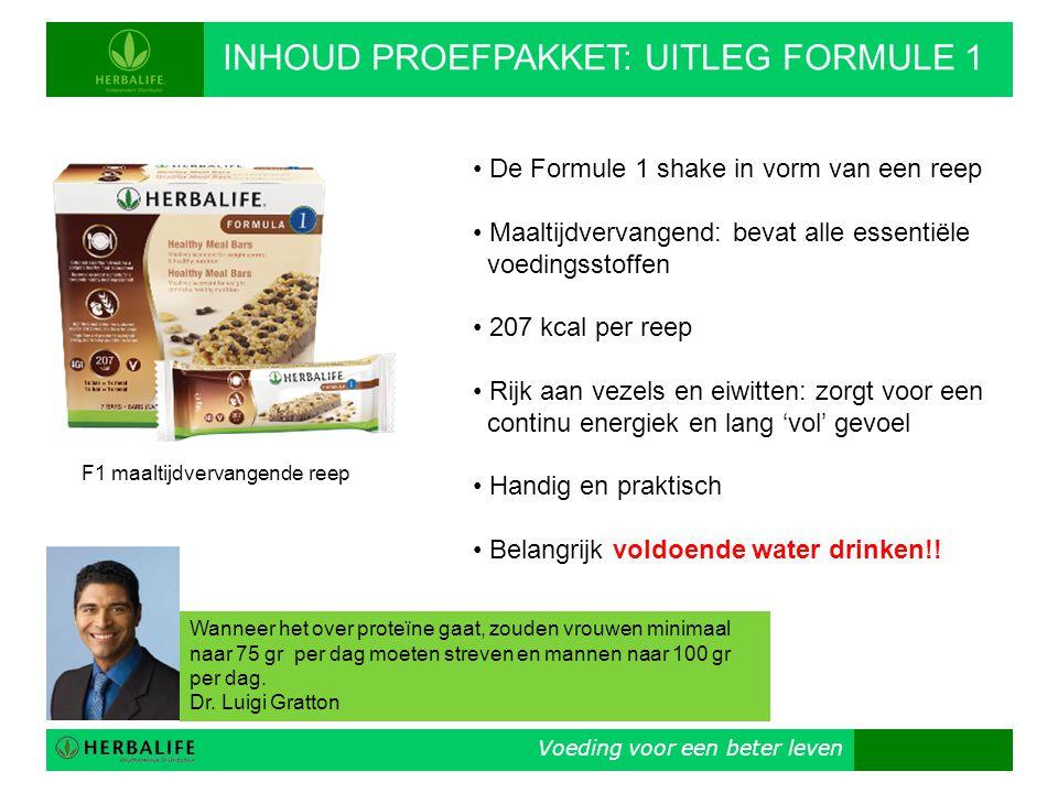 Voeding voor een beter leven INHOUD PROEFPAKKET: UITLEG FORMULE 1 F1 maaltijdvervangende reep • De Formule 1 shake in vorm van een reep • Maaltijdverv