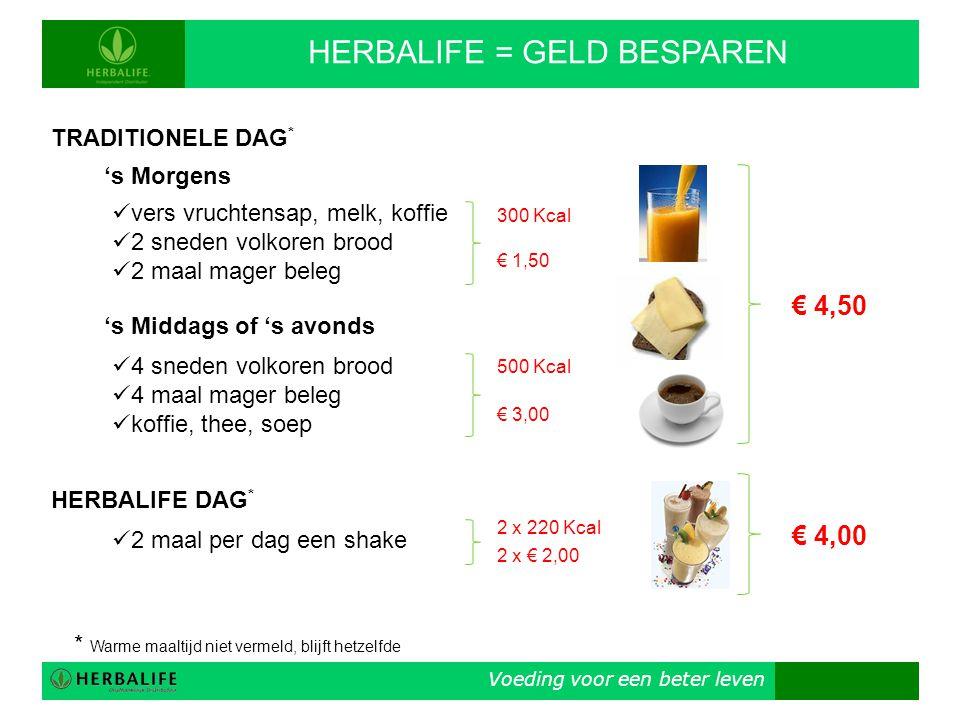 Voeding voor een beter leven HERBALIFE = GELD BESPAREN TRADITIONELE DAG * 's Morgens  vers vruchtensap, melk, koffie  2 sneden volkoren brood  2 ma