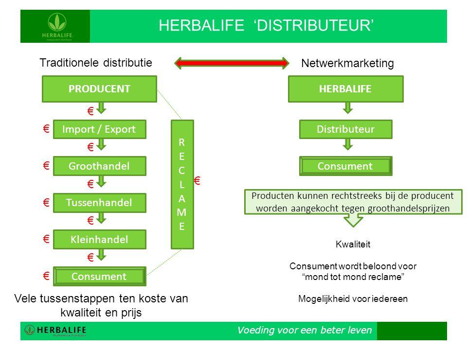 Voeding voor een beter leven HERBALIFE 'DISTRIBUTEUR' PRODUCENT Traditionele distributie Import / Export Groothandel Tussenhandel Kleinhandel Consumen