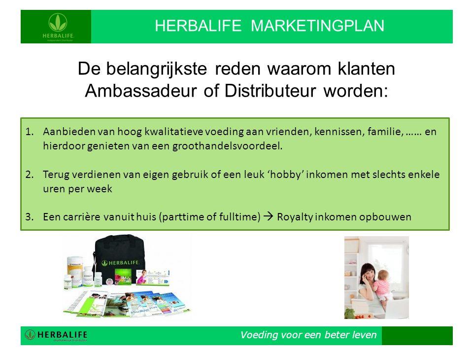 Voeding voor een beter leven HERBALIFE MARKETINGPLAN De belangrijkste reden waarom klanten Ambassadeur of Distributeur worden: 1.Aanbieden van hoog kw