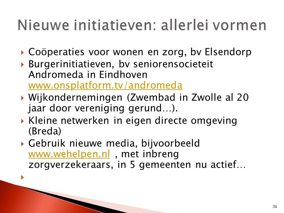  Coöperaties voor wonen en zorg, bv Elsendorp  Burgerinitiatieven, bv seniorensocieteit Andromeda in Eindhoven www.onsplatform.tv/andromeda www.onsp