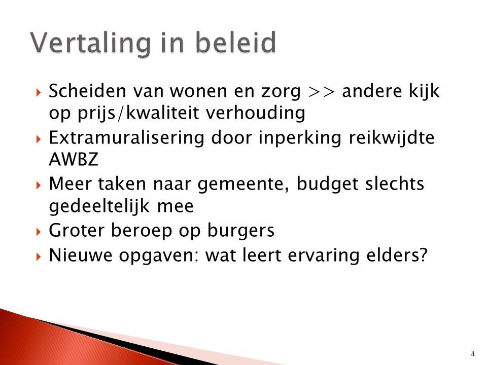  Scheiden van wonen en zorg >> andere kijk op prijs/kwaliteit verhouding  Extramuralisering door inperking reikwijdte AWBZ  Meer taken naar gemeent