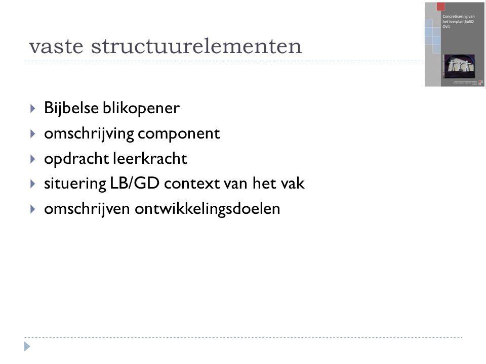 vaste structuurelementen  Bijbelse blikopener  omschrijving component  opdracht leerkracht  situering LB/GD context van het vak  omschrijven ontwikkelingsdoelen