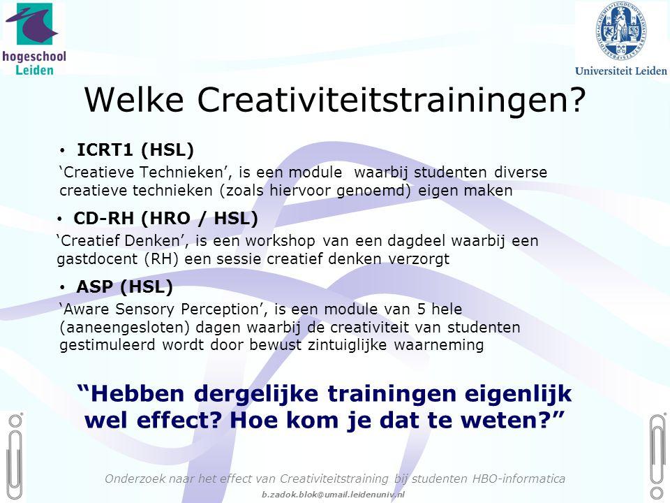 06 - 54.21.29.36 Creëren, mijn Passie! b.zadok.blok@umail.leidenuniv.nl Welke Creativiteitstrainingen.