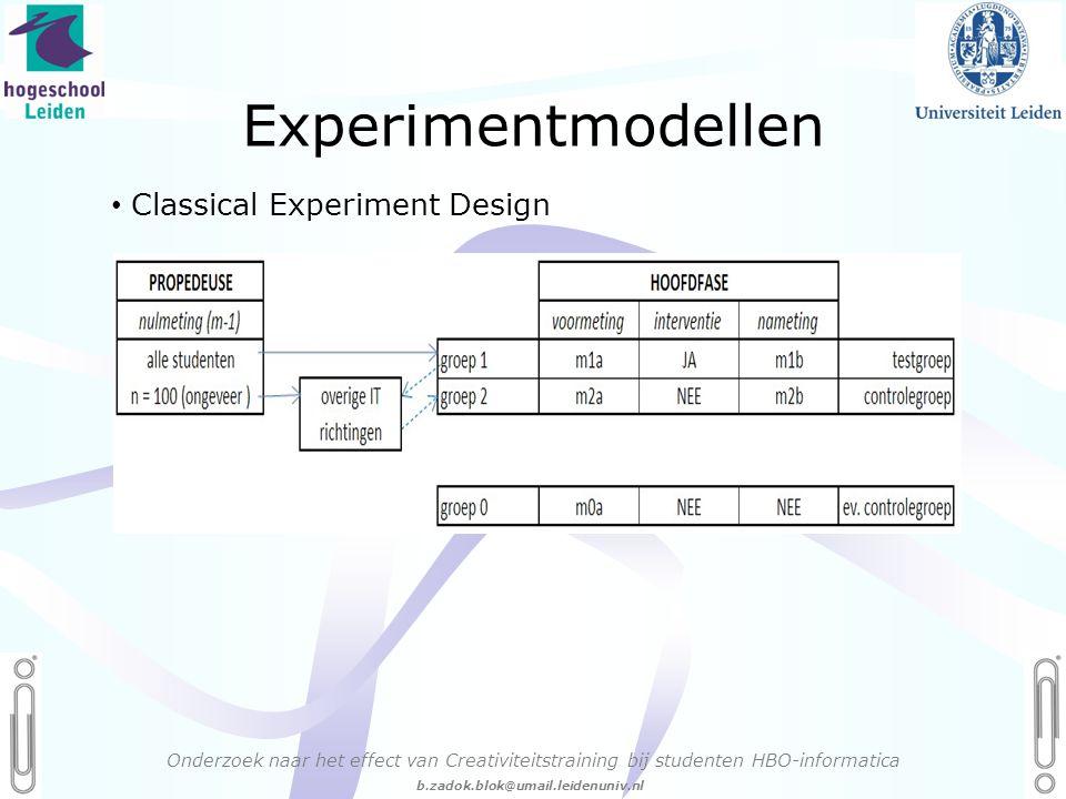 06 - 54.21.29.36 Creëren, mijn Passie! b.zadok.blok@umail.leidenuniv.nl Experimentmodellen Onderzoek naar het effect van Creativiteitstraining bij studenten HBO-informatica • Classical Experiment Design