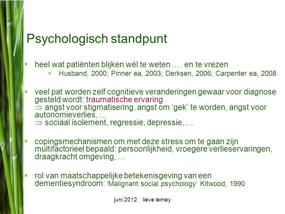 juni 2012 lieve lemey Meedelen van diagnose: een te grijpen kans.