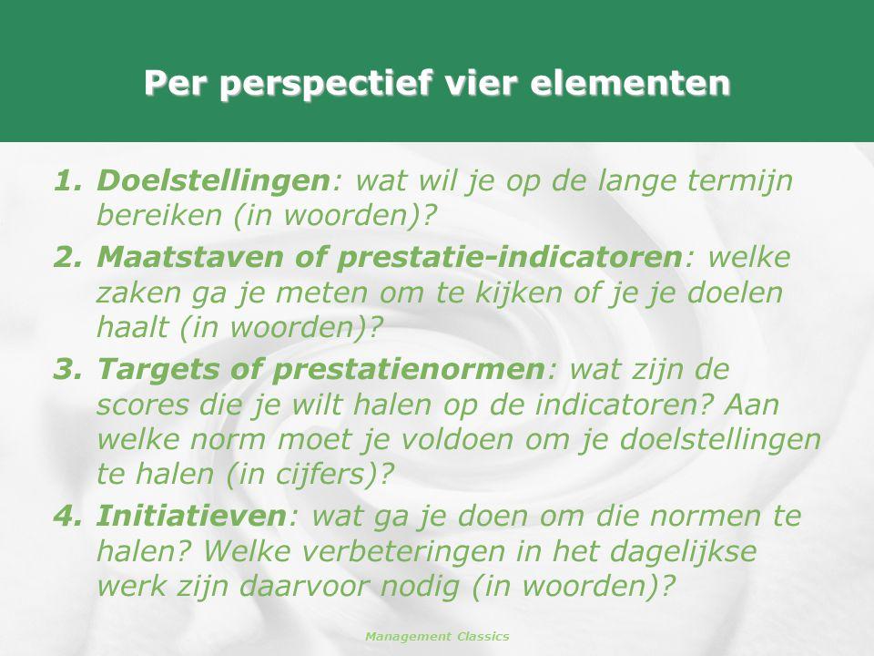 Management Classics Per perspectief vier elementen 1.Doelstellingen: wat wil je op de lange termijn bereiken (in woorden)? 2.Maatstaven of prestatie-i