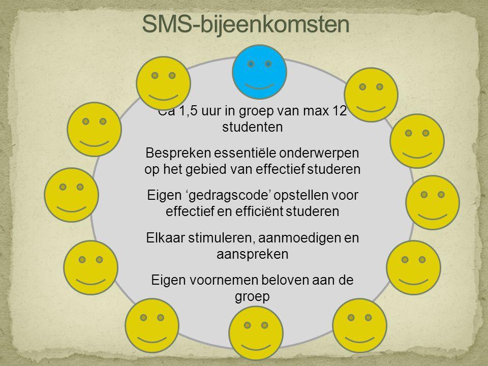 Ca 1,5 uur in groep van max 12 studenten Bespreken essentiële onderwerpen op het gebied van effectief studeren Eigen 'gedragscode' opstellen voor effe