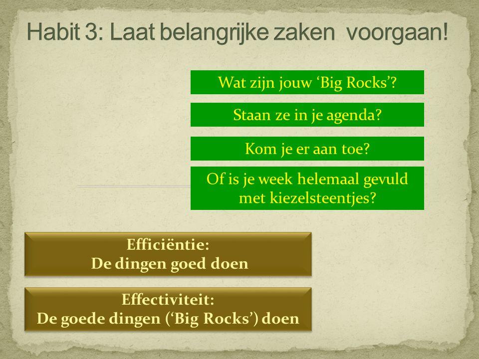 Wat zijn jouw 'Big Rocks'? Staan ze in je agenda? Kom je er aan toe? Of is je week helemaal gevuld met kiezelsteentjes? Efficiëntie: De dingen goed do