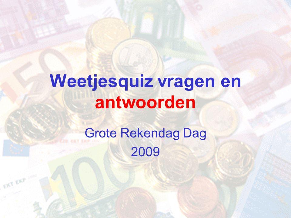 Weetjesquiz vragen en antwoorden Grote Rekendag Dag 2009