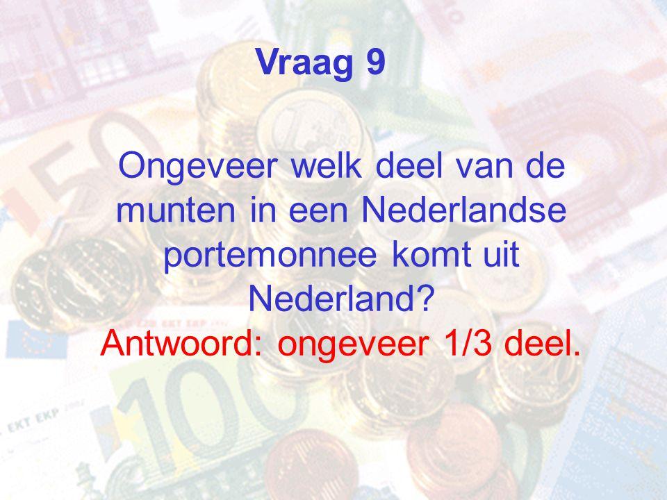 Ongeveer welk deel van de munten in een Nederlandse portemonnee komt uit Nederland? Antwoord: ongeveer 1/3 deel. Vraag 9