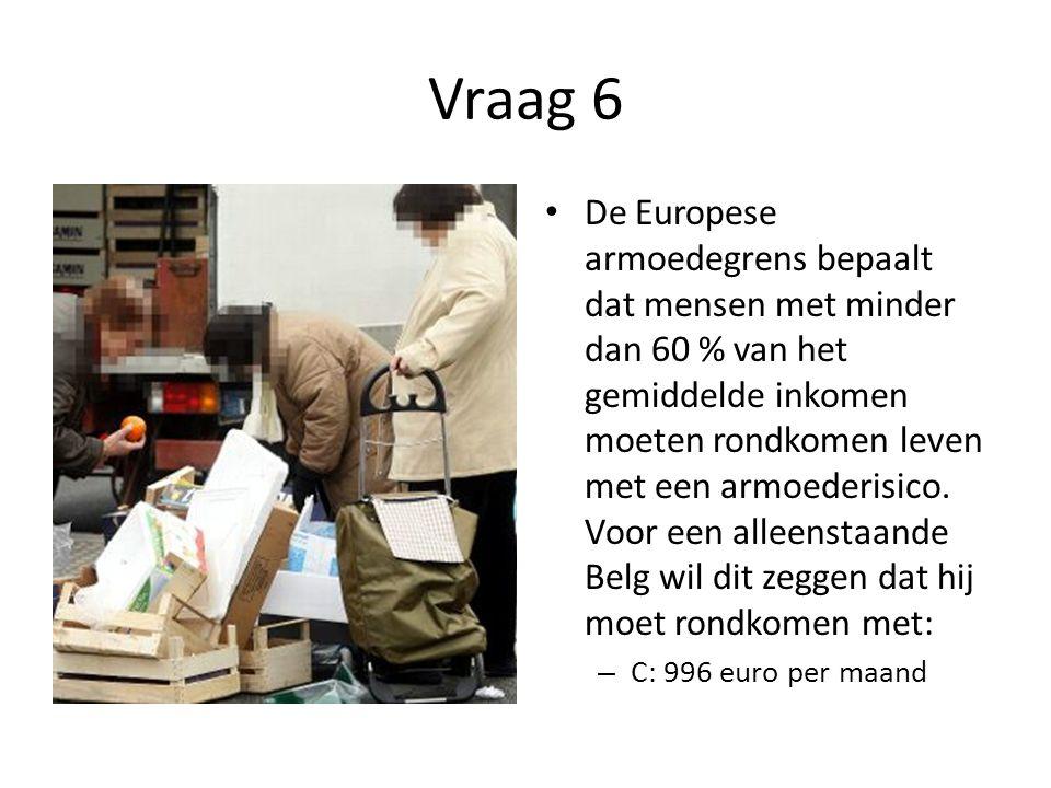 Vraag 6 • De Europese armoedegrens bepaalt dat mensen met minder dan 60 % van het gemiddelde inkomen moeten rondkomen leven met een armoederisico. Voo