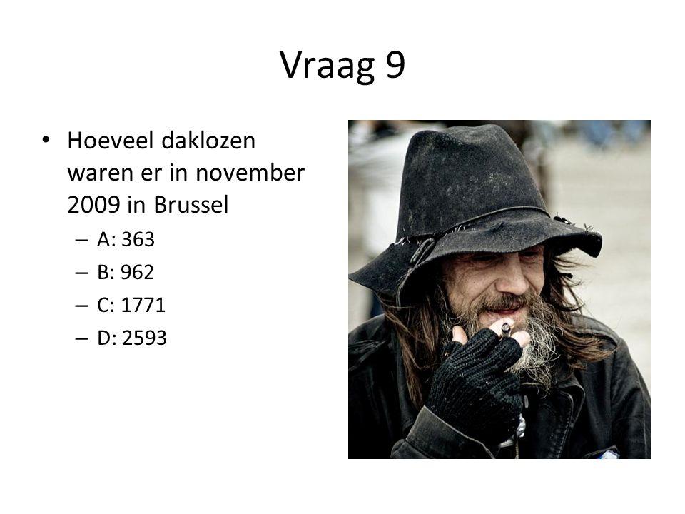 Vraag 9 • Hoeveel daklozen waren er in november 2009 in Brussel – A: 363 – B: 962 – C: 1771 – D: 2593