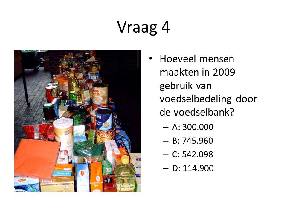 Vraag 4 • Hoeveel mensen maakten in 2009 gebruik van voedselbedeling door de voedselbank? – A: 300.000 – B: 745.960 – C: 542.098 – D: 114.900