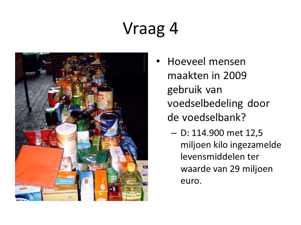 Vraag 4 • Hoeveel mensen maakten in 2009 gebruik van voedselbedeling door de voedselbank? – D: 114.900 met 12,5 miljoen kilo ingezamelde levensmiddele