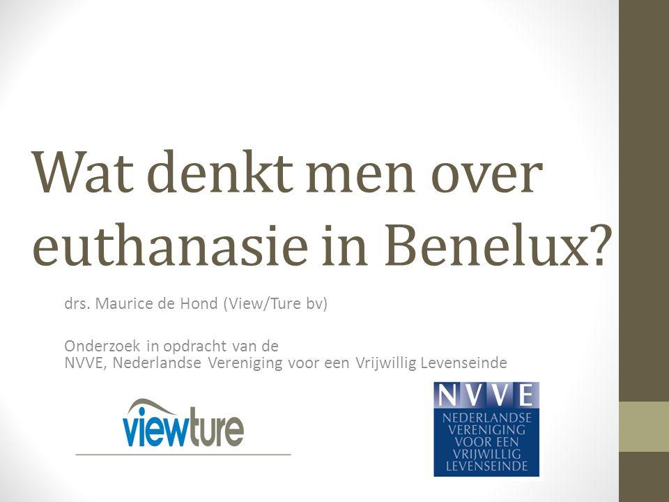 Verplicht doorverwijzen van weigerarts BeneluxNLBLux Mee eens80%83%76%82% Mee oneens11%10%13%12% Weet niet/g.m9%7%11%6% Totaal100% Een arts die geen euthanasie wenst uit te voeren, moet verplicht worden zijn patiënten op hun verzoek door te verwijzen naar een andere arts.