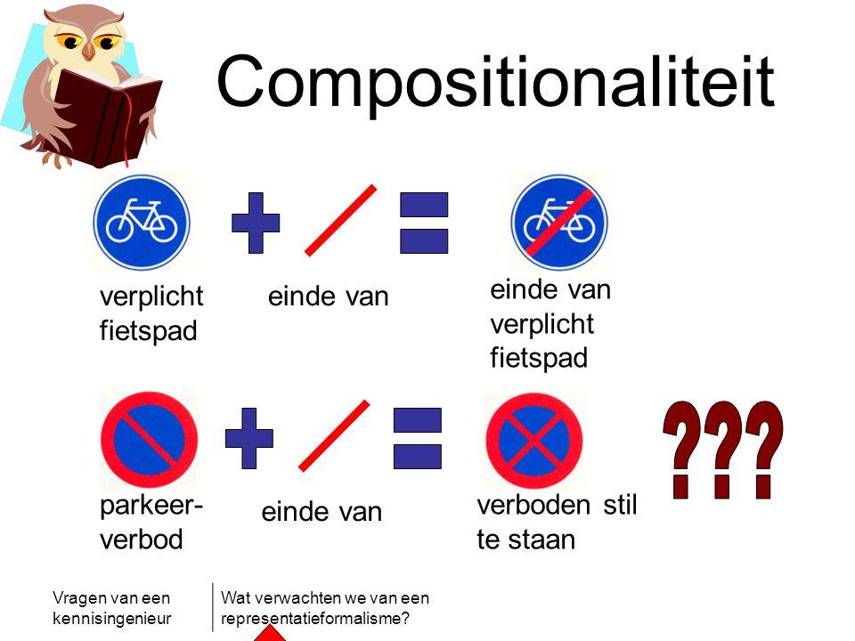 Vragen van een kennisingenieur Wat verwachten we van een representatieformalisme? Compositionaliteit verplicht fietspad einde van einde van verplicht