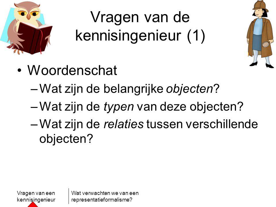 Vragen van een kennisingenieur Wat verwachten we van een representatieformalisme? Vragen van de kennisingenieur (1) •Woordenschat –Wat zijn de belangr