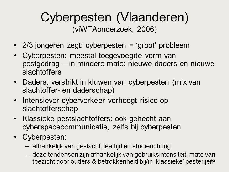 15 Cyberpesten (Vlaanderen) (viWTAonderzoek, 2006) •2/3 jongeren zegt: cyberpesten = 'groot' probleem •Cyberpesten: meestal toegevoegde vorm van pestgedrag – in mindere mate: nieuwe daders en nieuwe slachtoffers •Daders: verstrikt in kluwen van cyberpesten (mix van slachtoffer- en daderschap) •Intensiever cyberverkeer verhoogt risico op slachtofferschap •Klassieke pestslachtoffers: ook gehecht aan cyberspacecommunicatie, zelfs bij cyberpesten •Cyberpesten: –afhankelijk van geslacht, leeftijd en studierichting –deze tendensen zijn afhankelijk van gebruiksintensiteit, mate van toezicht door ouders & betrokkenheid bij/in 'klassieke' pesterijen