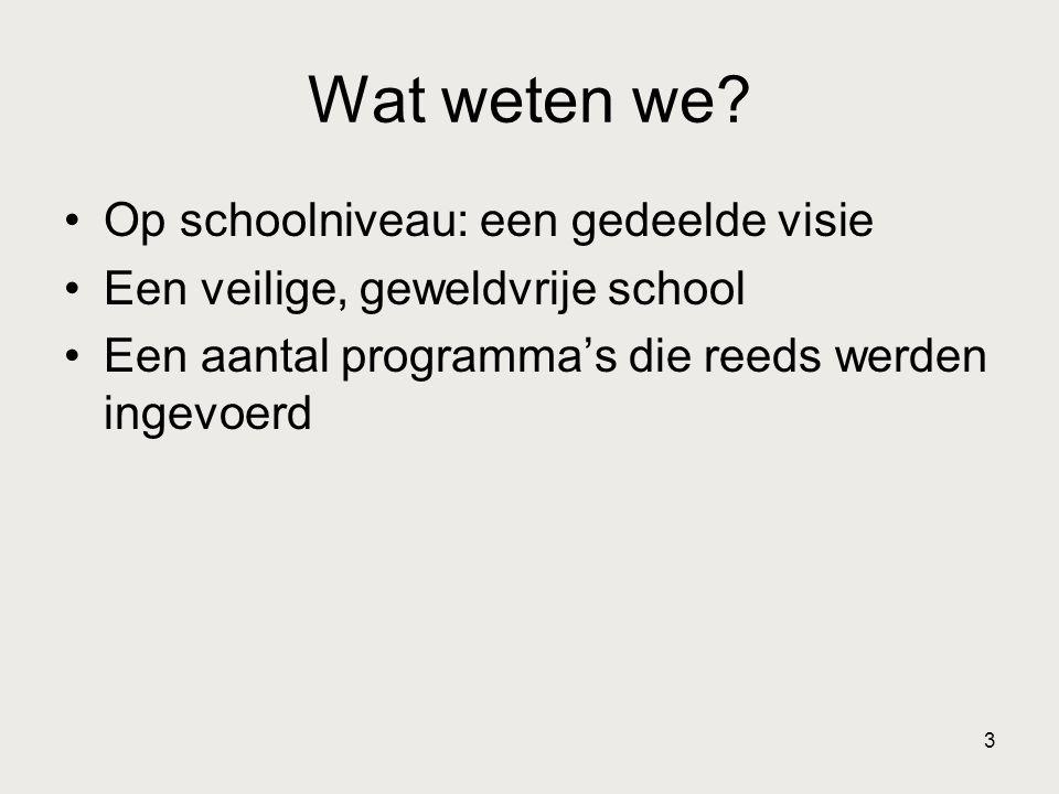 3 Wat weten we? •Op schoolniveau: een gedeelde visie •Een veilige, geweldvrije school •Een aantal programma's die reeds werden ingevoerd