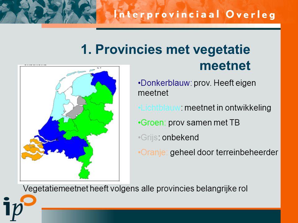 1. Provincies met vegetatie meetnet •Donkerblauw: prov. Heeft eigen meetnet •Lichtblauw: meetnet in ontwikkeling •Groen: prov samen met TB •Grijs: onb