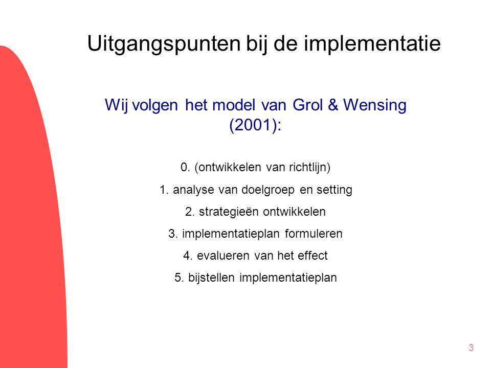 3 Wij volgen het model van Grol & Wensing (2001): 0. (ontwikkelen van richtlijn) 1. analyse van doelgroep en setting 2. strategieën ontwikkelen 3. imp