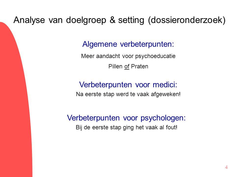 4 Algemene verbeterpunten: Meer aandacht voor psychoeducatie Pillen of Praten Analyse van doelgroep & setting (dossieronderzoek) Verbeterpunten voor m