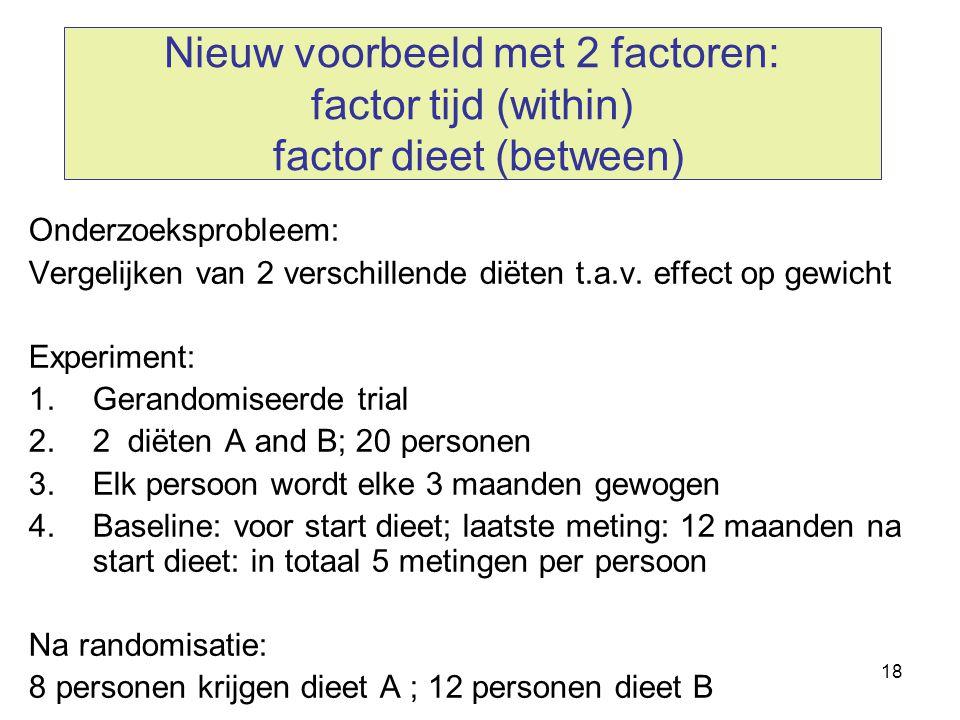 18 Nieuw voorbeeld met 2 factoren: factor tijd (within) factor dieet (between) Onderzoeksprobleem: Vergelijken van 2 verschillende diëten t.a.v. effec