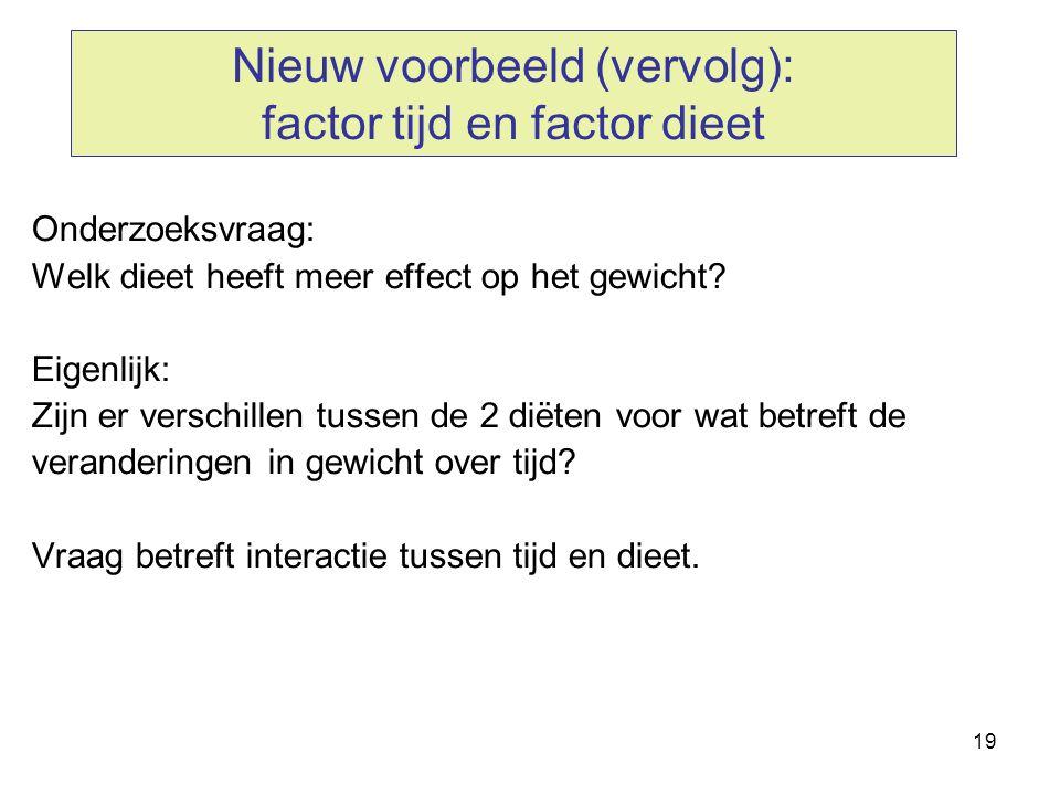 19 Nieuw voorbeeld (vervolg): factor tijd en factor dieet Onderzoeksvraag: Welk dieet heeft meer effect op het gewicht? Eigenlijk: Zijn er verschillen
